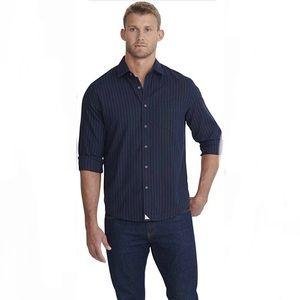 UNTUCKIT MERIDIAN Navy Pinstripe Flannel Shirt XXL